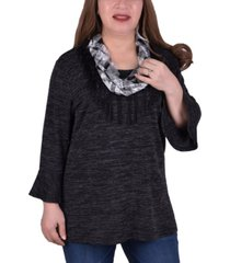 ny collection women's plus size bell sleeve tunic with scarf