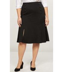 lane bryant women's faux-button flounce ponte skirt 18 black