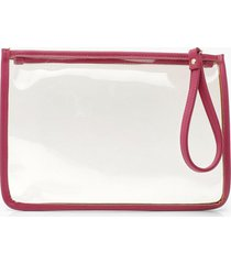 pu clear zip top travel pouch with handle, pink