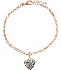 bracciale cuore in argento 925 rosato e cristalli hematite per donna