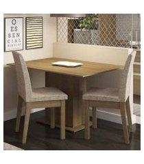 conjunto sala de jantar madesa beca mesa tampo de madeira com 2 cadeiras rustic/fendi rustic