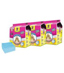 kit tapetes higiênicos para cães chalesco 150 unidades 60x60cm azul