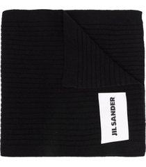 jil sander black wool scarf