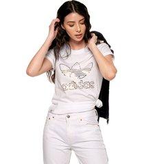camiseta blanco-dorado adidas originals tee