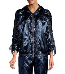 robert rodriguez women's olympia metallic windbreaker jacket - aqua - size xs