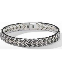 men's david yurman chevron woven bracelet with black diamonds