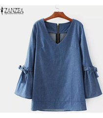 zanzea mujeres de cuello redondo ocasional de la camisa manga de bell del bowknot tops denim blue blusa suelta -azul oscuro