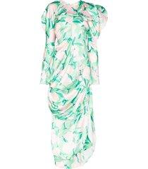 yuhan wang peach blossom print dress - white