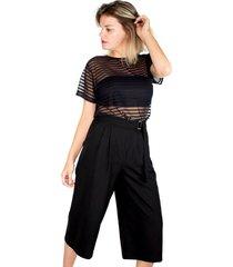 t-shirt modisch tule listrado preta - preto - feminino - poliamida - dafiti