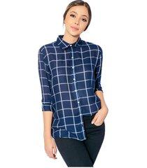 camisa a cuadros gaby para mujer - azul