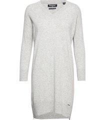 jayden luxe knit dress stickad klänning grå superdry