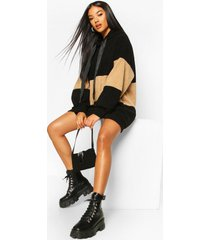 borg colour block hooded sweatshirt dress, black