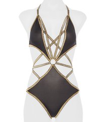 women's hauty strappy cutout teddy, size one size - black