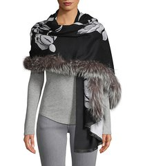 floral fox fur-trim cashmere-blend shawl