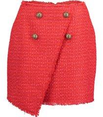 asymmetrical four button tweed wrap skirt