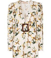 adriana degreas belted orchid-print playsuit - white