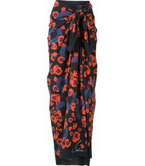 isolda paquistão printed beach skirt - blue