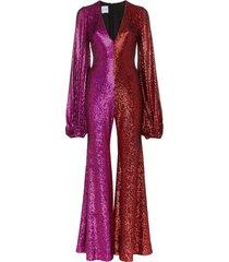 halpern allino v-neck bell sleeve jumpsuit - pink