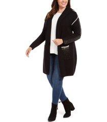 belldini plus size embellished hooded cardigan
