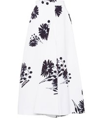 prada floral print poplin skirt - white