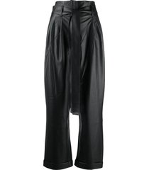 each x other vegan leather high waist trousers - black