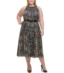 tommy hilfiger plus size printed belted midi dress