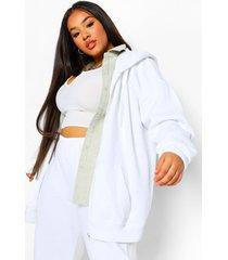plus basic oversized hoodie met rits, white