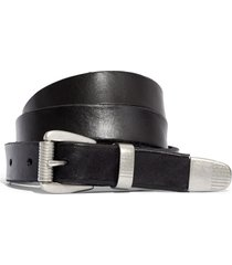 women's madewell leather three-piece belt, size x-large - true black