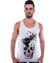 regata corvuz skull cinza claro mescla - cinza - masculino - algodã£o - dafiti