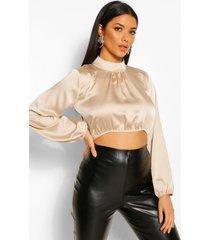 satijnen korte blouse met hoge kraag en ballonmouwen, crème