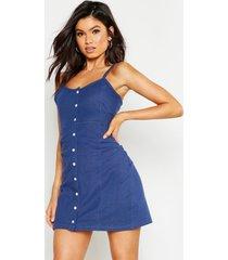 bodycon jurk met knopen en bandjes, middenblauw
