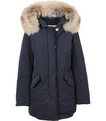 blue technical fabric padded coat