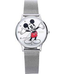 orologio solo tempo con cinturino maglia milanese e cassa in acciaio silver, quadrante con topolino con glitter e strass per donna