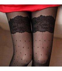 calze sexy della coscia sottile della calza del colletto del pizzo del pizzo del jacquard del retro