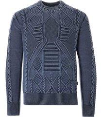 c17 jeans cedixsept indigo dyed cable knit jumper   sea   c17can-sea