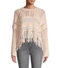 crochet cotton-blend sweater