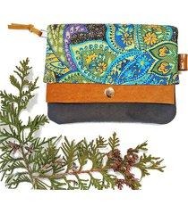 portfel boho mini - zielony paisley