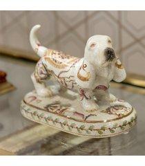 escultura decorativa de porcelana cachorro hai