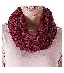 100% alpaca neck warmer, 'mysterious burgundy' (peru)