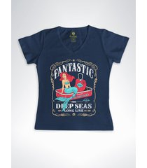 camiseta feminina gola v surf cool tees sereias em conservas azul