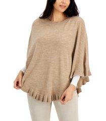 karen scott cotton luxsoft ruffled poncho sweater, created for macy's