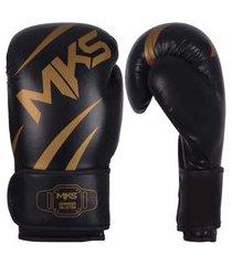 luva de boxe mks champions iii preto e dourado