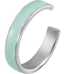 anello in acciaio con smalto verde acqua per donna
