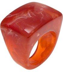 anel le briju acrílico quadrado único caramelo