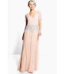 boutique maxi bruidsmeisjes jurk met kraaltjes en kapmouwen, nude