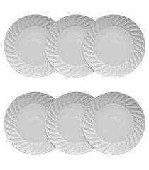 conjunto 6 pratos porcelana p/ sobremesa germer tangram 21.5cm branco