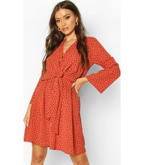 polka dot woven knot front wrap dress, rust