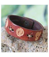 men's leather wristband bracelet, 'cinnamon adinkra celebration' (ghana)