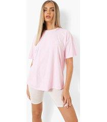 oversized overdye t-shirt met borstopdruk, light pink