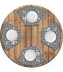 jogo americano love decor para mesa redonda wevans geometric black kit com 4 pçs